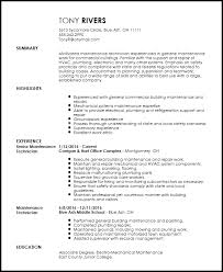 Resume Traditional Free Traditional Maintenance Technician Resume Template Resume Now