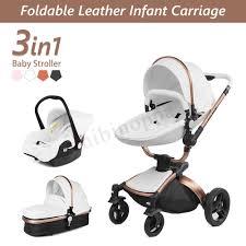luxury 3 in 1 baby stroller kids high view pram pushchair bassinet car seat