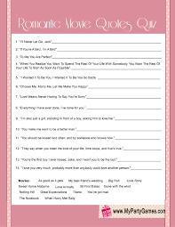 Quotes quiz Free Printable Bridal Shower Romantic Movie Quotes Quiz Boo Boo's 40
