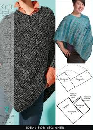 Knit Poncho Pattern Impressive Super Easy 48 Rectangles Form A Poncho Free Patterns