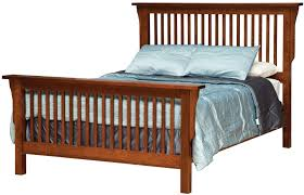 Queen Mission-Style Frame Bed with Headboard & Footboard Slat Detail ...