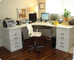 corner office cabinet. For Basement Office: The Pottery Barn-inspired Desk Below Has Painted File Cabinet Bases, Which Hold Top Of A Disassembled IKEA Effektiv Desk. Corner Office E