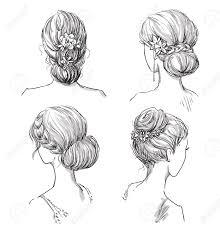 ヘアスタイルのセットですブライダル髪型手描きのイラスト素材