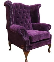 chesterfield queen anne high back fireside wing chair amethyst purple fabric wow