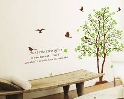 on wall art stickers tree with 2 trees with green leaves wall decal vinyl tree art stickers