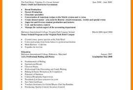Useful Pastry Chef Resume Format Also Hotel Executive Cover