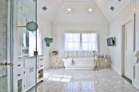 ideas adorable beach cottage style bathrooms with white porcelain bathtub  nearby moen floor mount tub filler