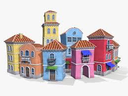 Venice Cartoon Houses 3d Model