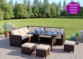 aluminium frame rattan corner garden sofa dining set furniture cover brown with light cushions