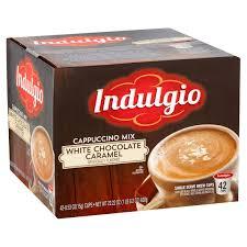 indulgio cappuccino mix white chocolate caramel single serve brew cups 0 53 oz 42 count walmart