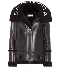 balenciaga shearling lined leather jacket women black