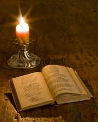 still life old book and candle