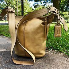 "COACH ""Yellow"" Leather Bleecker •Tattersall• Duffle Shoulder Bag Crossbody  11422"