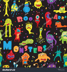 halloween birthday greeting monster seamless pattern hand drawn design stock illustration