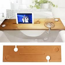 details about wooden bath caddy tray bathtub board bath shelf wine tablet holder light oak uk
