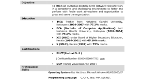 Stunning Fresher Back Office Resume Format Pictures Inspiration