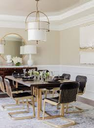 transitional dining room modern glamorous eclectic kitchen dining chairs black leather gold table