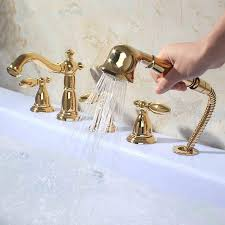 image of roman bathtub faucets with handheld shower