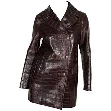 celine crocodile leather coat dark brown for