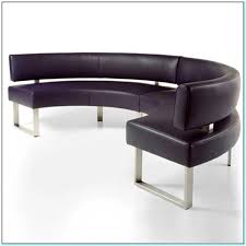Charcoal Fabric Curved Tufted Dining Settee Bench Pair  Home Curved Bench Dining