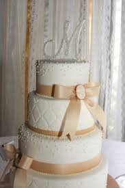 Quilted Cake with Pearls and Cameos | Weddingbee Photo Gallery & My sister and I made the cake topper out of a wood monogram, hotglue, and  fake pearls. Adamdwight.com