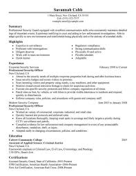 Security Officer Resume Examples And Samples