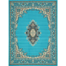 unique loom mashad turquoise 10 ft x 13 ft area rug