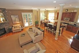 Open Kitchen Dining Living Room Dining Room With Chair Rail Paint Ideas Dining Room Before Wa