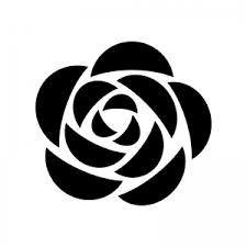 バラの花の白黒シルエット 無料のaipng白黒シルエットイラスト