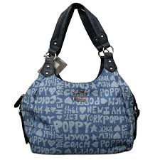 Coach Fashion Poppy Signature Medium Navy Shoulder Bags ENJ