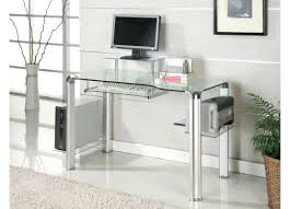 innovex glass computer desk clear and chrome magnifier round shelf