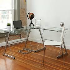 walker edison glasetal corner computer desk multiple with 3 piece glass computer desk