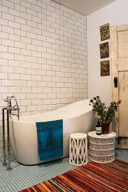 Bathrooms:Bohemian Eclectic Bathroom With White Tub And Eclectic Side  Tables Bohemian Eclectic Bathroom With