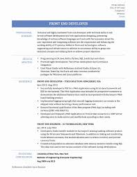 Software Engineer Resume Examples Unique Front End Developer At