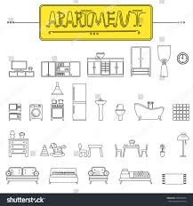 stock vector vector objects of apartment furniture appliances for interior design icon set in line art style