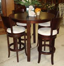 space saving bistro design with tall red cherry finish dining tables round wooden table top