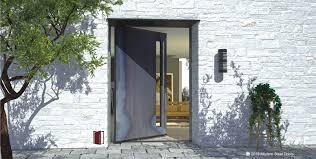 Raw Steel Single Door with Round Antler Lite Length Door Pulls ...