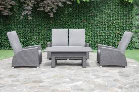 Outflexx Malaga Set 4 Pers Grau Tisch 140x80 Gartenmoebelde