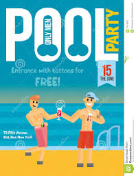 gay pool party template for poster design stock vector image gay pool party template for poster design
