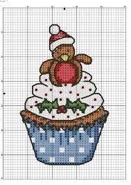Xmas Robin Cupcake Pattern Cristm Cross Stitch