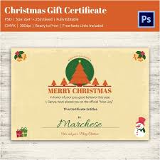 Customizable Christmas Gift Certificate Template Christmas Gift