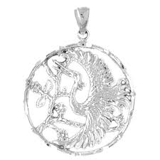 sterling silver bird pendant rhodium yellow or rose gold plated