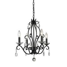princess matte black four light mini chandelier with clear crystal