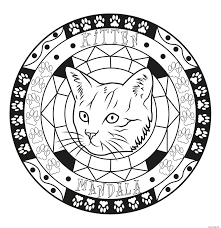 Coloriage Adulte Mandala Chat Chaton Original Facile Dessin