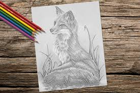 Small Picture Adult Coloring Page Fox grayscale coloring pages Instant