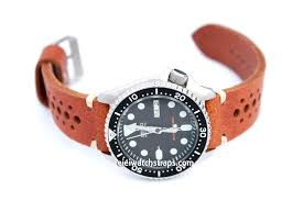 brown leather racing watch strap for seiko watches