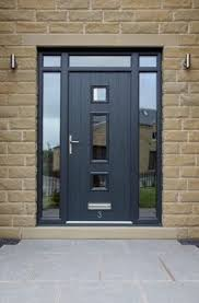 modern front door. Genoa Composite Door With Integrated Top And Side Lights In Grey Etched Glass Design. Modern Front