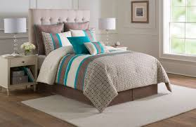 12 piece catalina turquoise taupe ivory bed in a bag w 600tc cotton sheet set full
