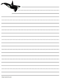writing paper stationery printable kids letterhead jumping killer whale letterhead paper lined kids whales writing paper template