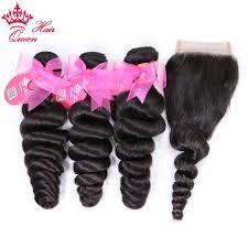 <b>Queen Hair Products</b> Brazilian <b>Loose</b> Wave Bundles with Closure ...